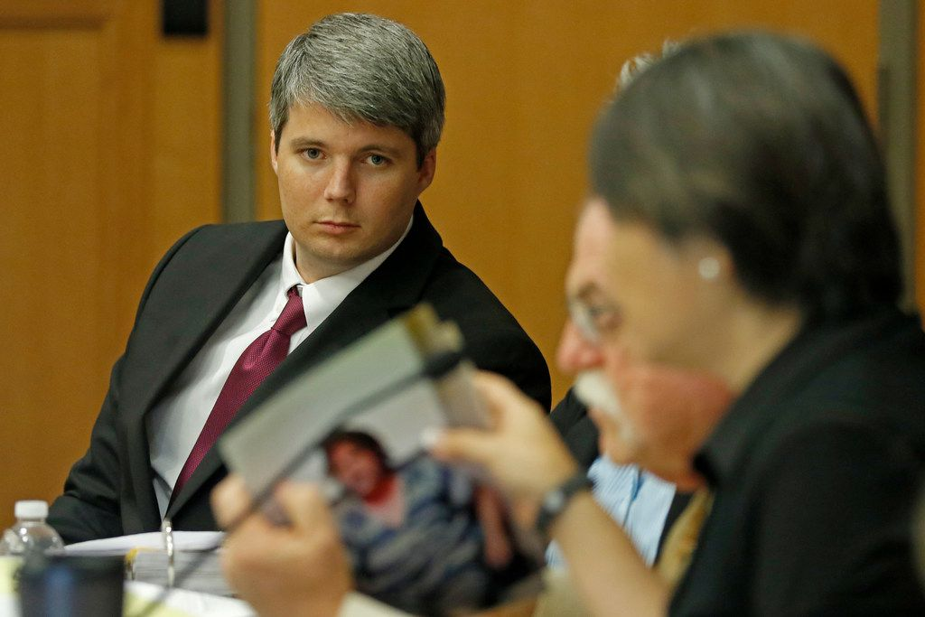 Defendant Jason Lowe attends his murder trial in the death of his girlfriend Jessie Bardwell at Collin County Courthouse in McKinney, Texas, Monday, Sept. 18, 2017. (Jae S. Lee/The Dallas Morning News)