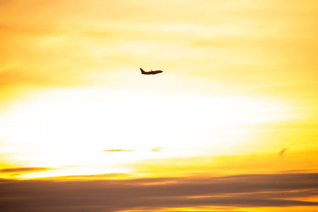 A Southwest Airlines jet departs against the morning sunrise on Friday, June 14, 2019 in Dallas.