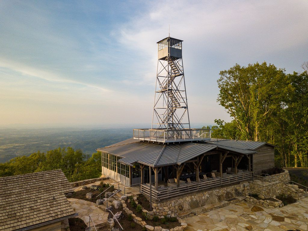 The Firetower restaurant is nearly a 1.5-mile hike from the Blackberry Mountain resort — uphill all the way. But guests who aren't inclined to hike can get a lift in a golf cart or one of the vehicles from the resort's Lexus fleet.