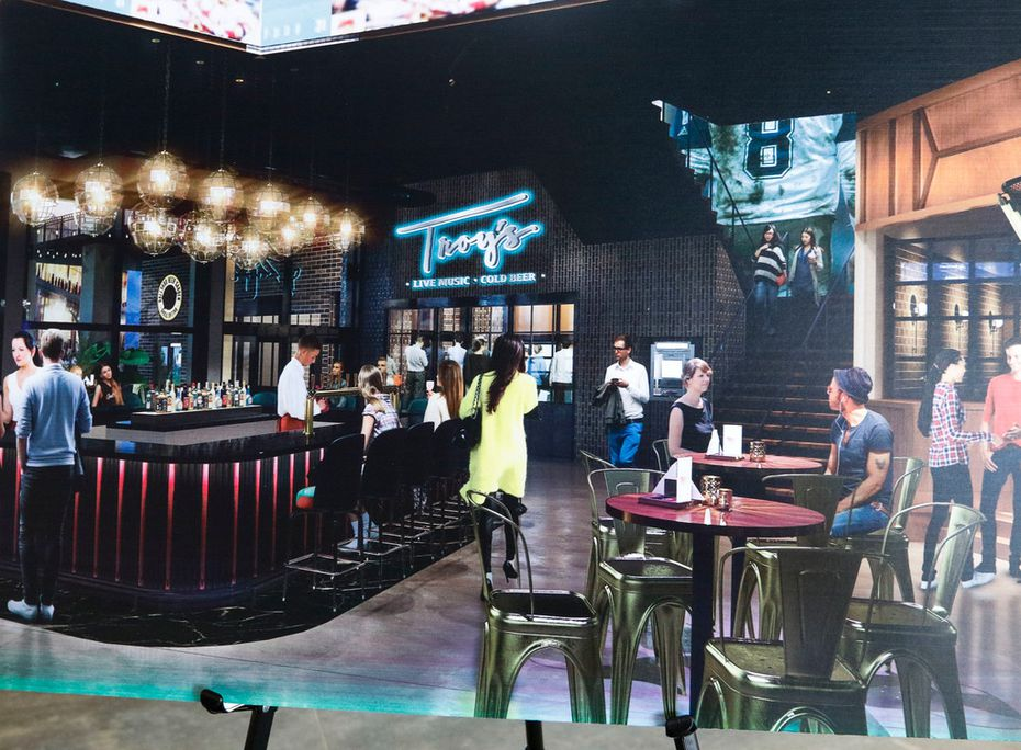 An artist rendition of Troy's, a new restaurant from former Dallas Cowboys quarterback Troy Aikman that was announced Tuesday during a media tour of Texas Live in Arlington.