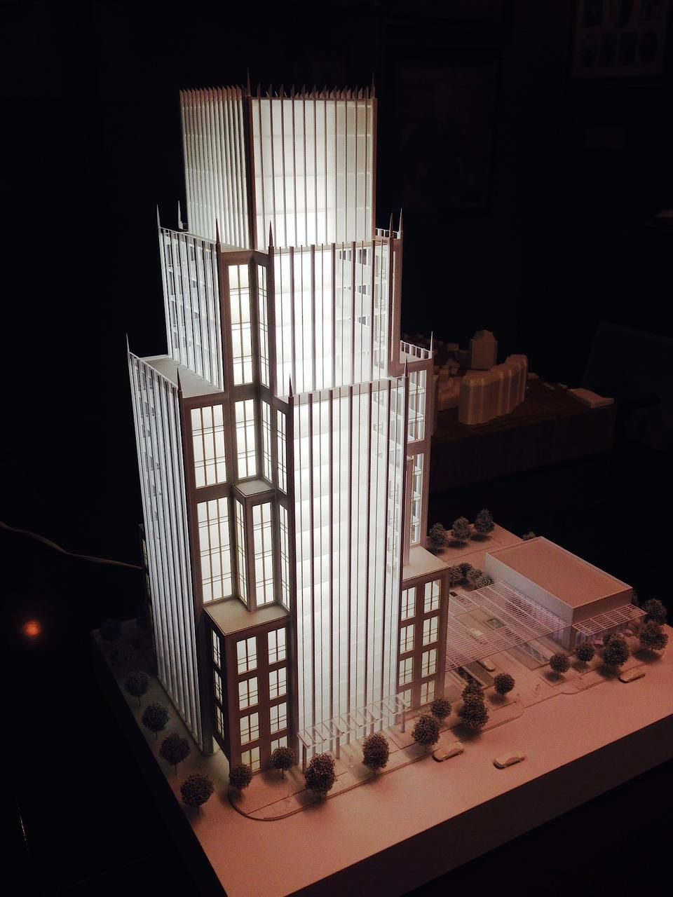 A model of the 14-story office tower that will be built on Maple Avenue on the site of the Old Warsaw restaurant.