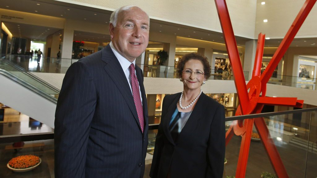NorthPark Center  co-owners David J. Haemisegger and Nancy A. Nasher display their love of art throughout the shopping destination with works including the sculpture  Astra  (in background).