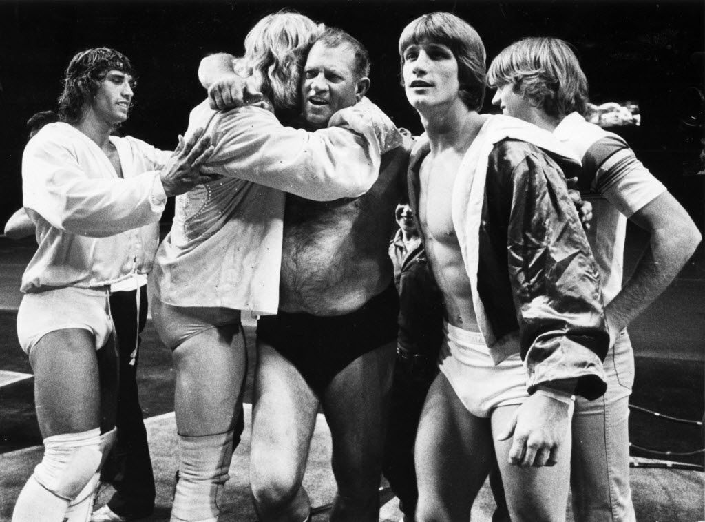 Fritz (center), patriarch of the Von Erich family of wrestling, including sons (from left) Kerry, David, Kevin and Michael. A fifth son, Chris Von Erich, is not pictured.
