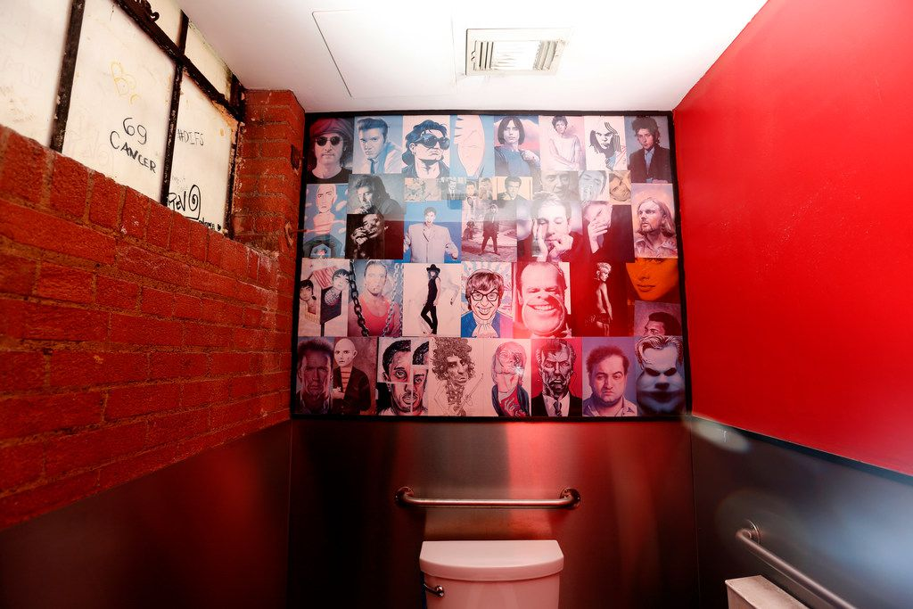 The women's restroom at Angry Dog in Dallas on Wednesday, March 20, 2019. (Rose Baca/Staff Photographer)