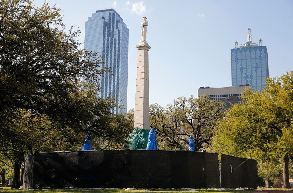 The Confederate War Memorial had to be covered up in April after vandals spray-painted vulgarities all over the 1897 monument to the Lost Cause.