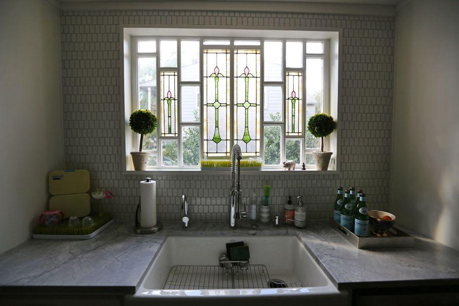 Leaded glass in the kitchen window