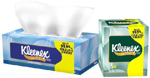 These Kleenex tissues are designed to kill viruses.