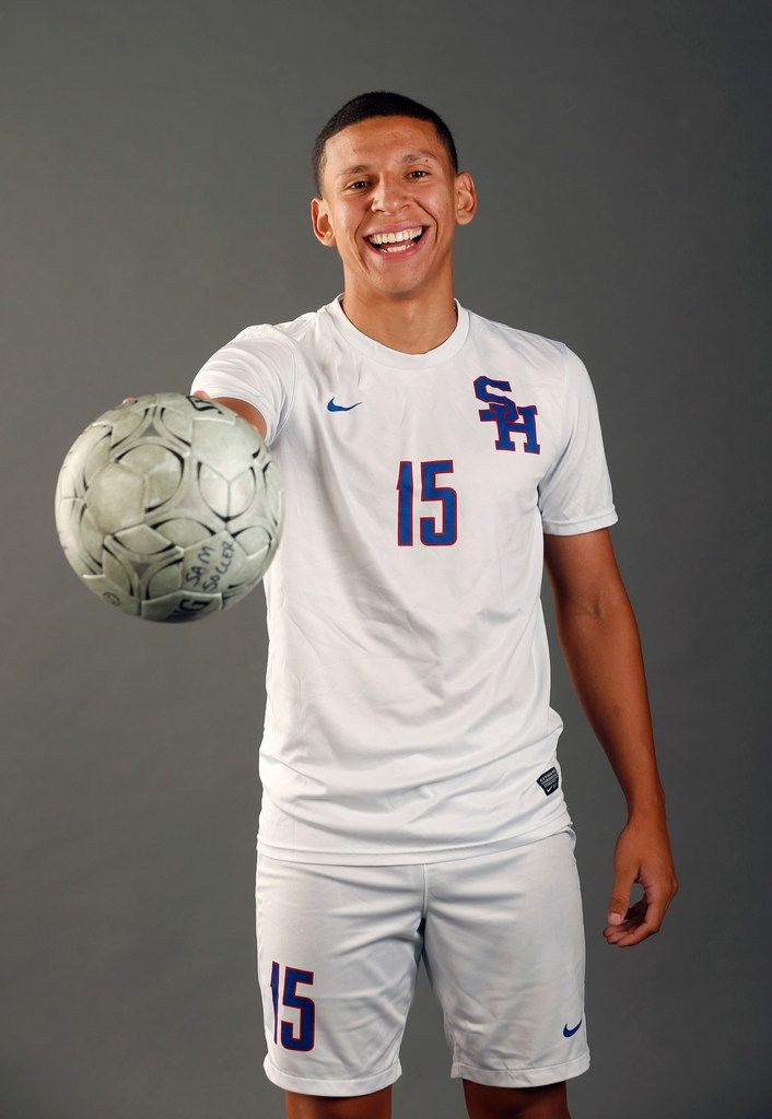 Jose Ortiz of Arlington Sam Houston High School poses for a portrait in the studio in Dallas on Wednesday, May 1, 2019. (Vernon Bryant/The Dallas Morning News)