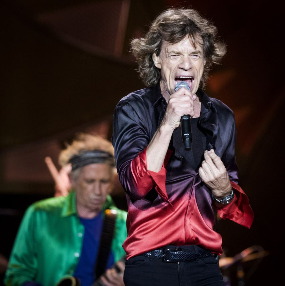 Mick Jagger (right) and Keith Richard on stage at AT&T Stadium in Arlington, June 6, 2015.