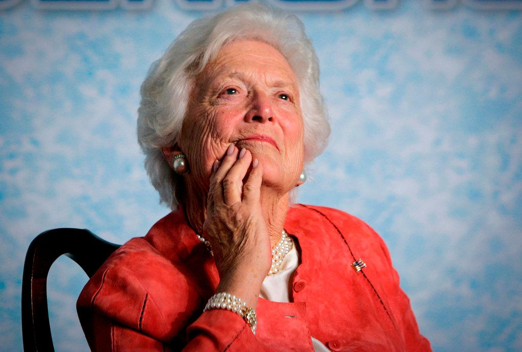 """Former first lady Barbara Bush listens to her son, President George W. Bush, as he speaks on Social Security reform in Orlando, Fla. The wife of former President George H.W. Bush is in """"failing health,"""" a Bush family spokesman said Sunday"""