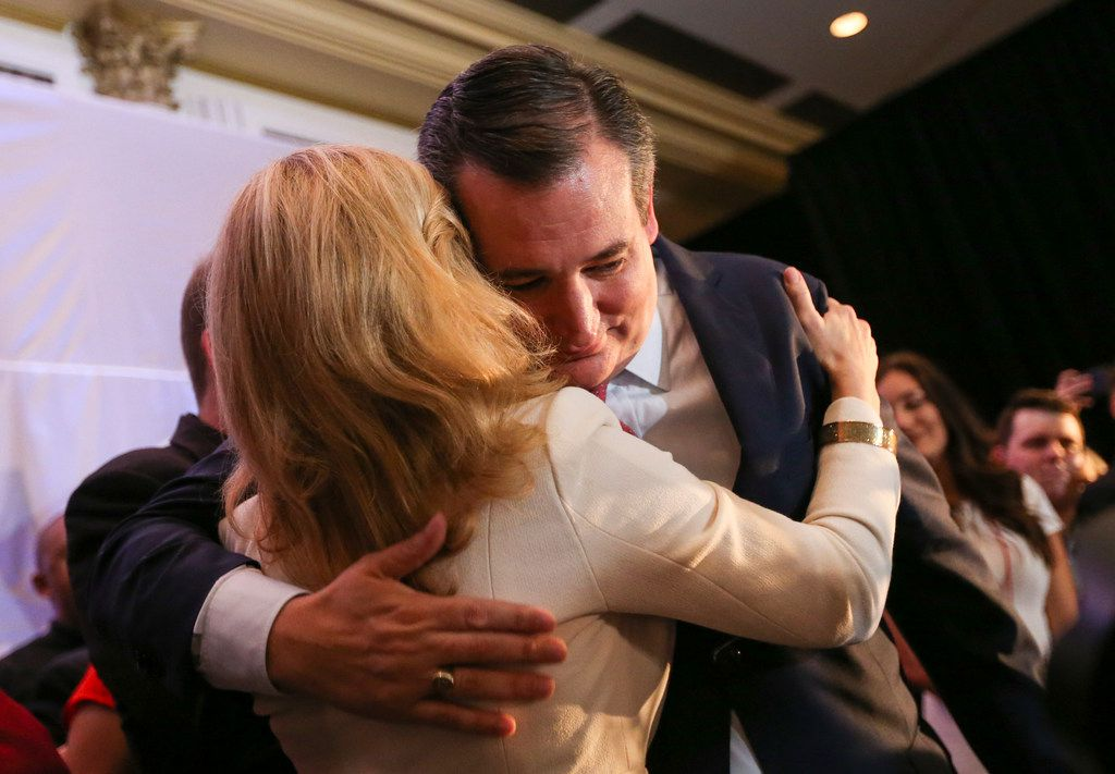 Sen. Ted Cruz, R-Texas, embraced his wife, Heidi Cruz, as he claimed victory over Beto O'Rourke during an election night party Tuesday, Nov. 6, 2018, at the Hilton Post Oak by the Galleria in Houston.