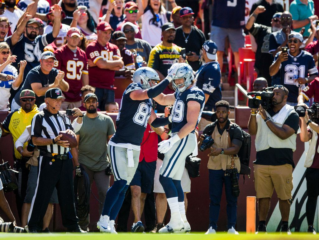 Dallas Cowboys tight end Jason Witten (82) celebrates a touchdown with tight end Blake Jarwin (89) during the second quarter of an NFL game between the Dallas Cowboys and the Washington Redskins on Sunday, September 15, 2019 at FedExField in Landover, Maryland.