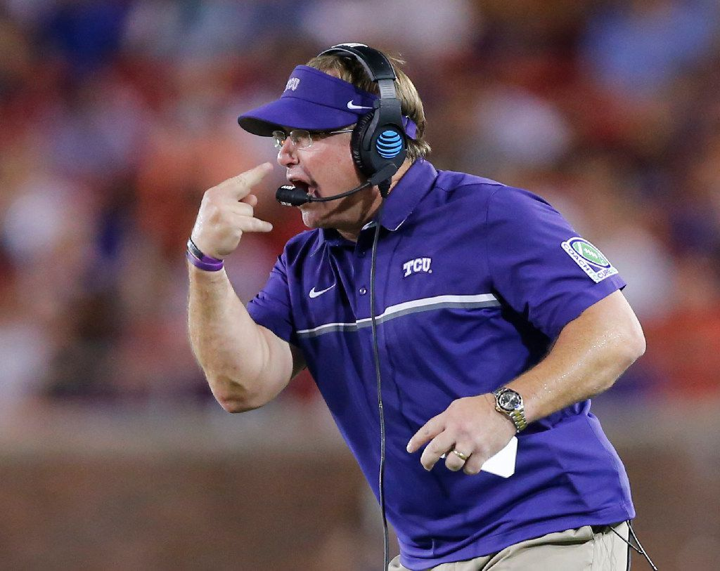 'Eyes on Me' - TCU Horned Frogs head coach Gary Patterson motions to his players during their game against the Southern Methodist Mustangs at Gerald J. Ford Stadium in University Park, Texas, Friday, September 23, 2016. (Tom Fox/The Dallas Morning News)