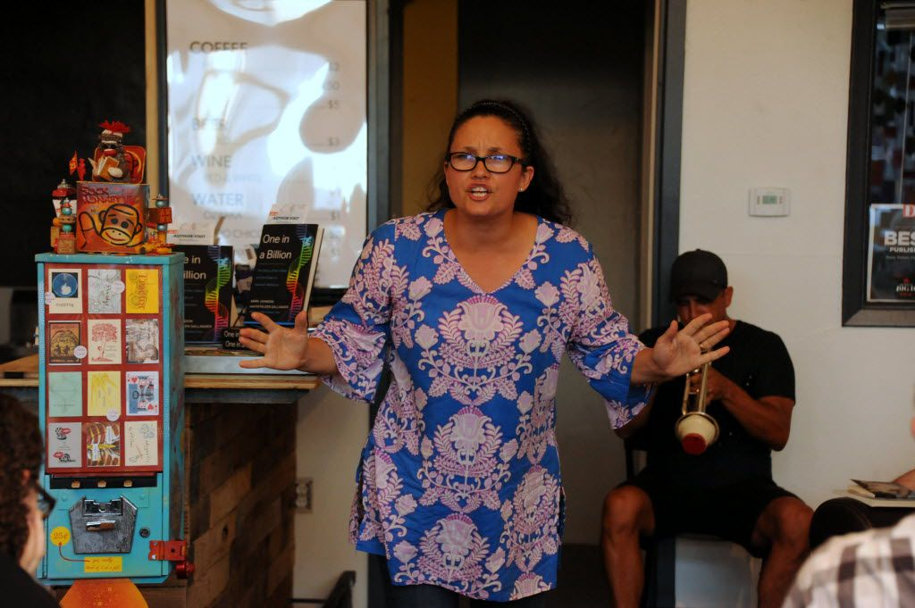 Tamitha Curiel reads poetry at White Rock Zine Machine launch party at Deep Vellum Publishing in Dallas, TX on July 22, 2016. (Alexandra Olivia/ Special Contributor)