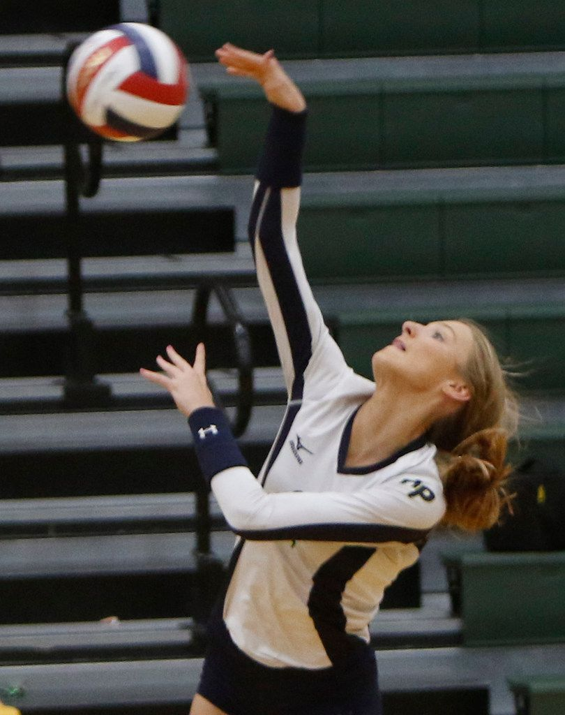 Highland Park outside hitter Kate Nugent (2) powers a spike for a winner during the first game of their match against Carrollton Newman Smith. The two teams played their District 11-5A volleyball match at Carrollton Newman Smith High School in Carrollton on October 8, 2019. (Steve Hamm/ Special Contributor)
