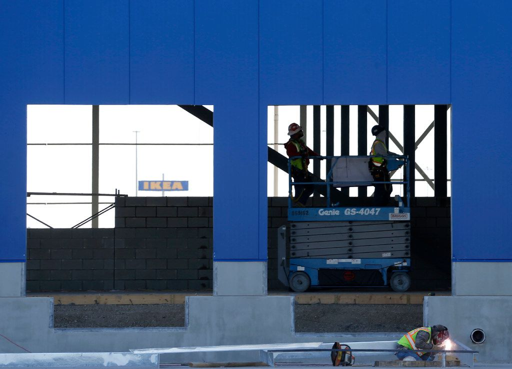 Construction continues on a new IKEA at the intersection of Mayfield and State Highway 161 in Grand Prairie on Thursday, March 2, 2017. (Vernon Bryant/The Dallas Morning News)