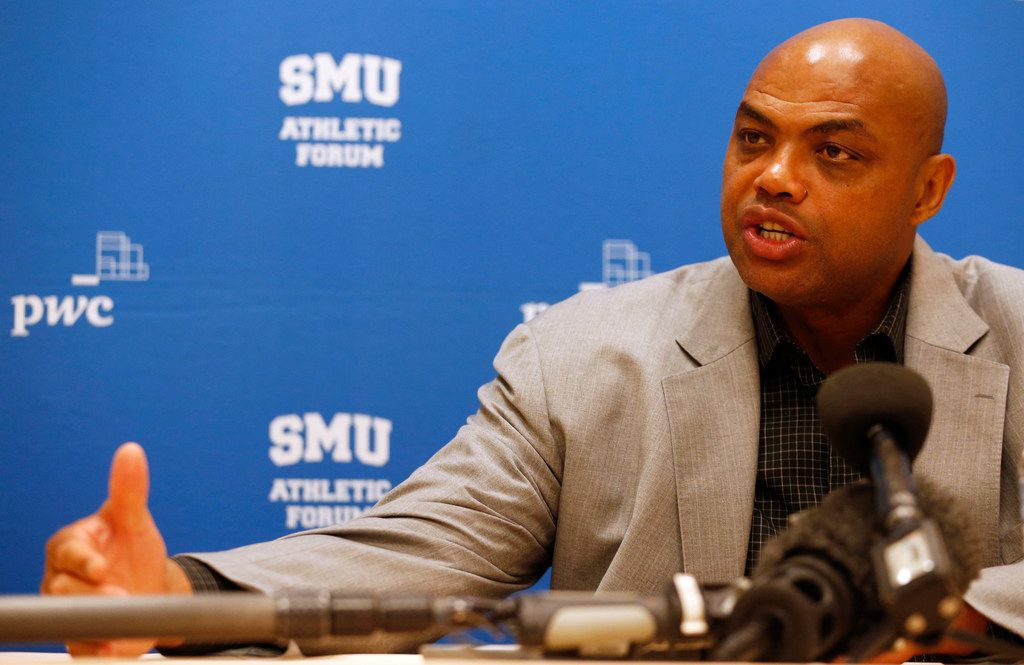 Former NBA player and TV analyst Charles Barkley answers questions from the media at the SMU Athletic Forum at the Hilton Anatole Hotel in Dallas on Wednesday, September 20, 2017. (Vernon Bryant/The Dallas Morning News)