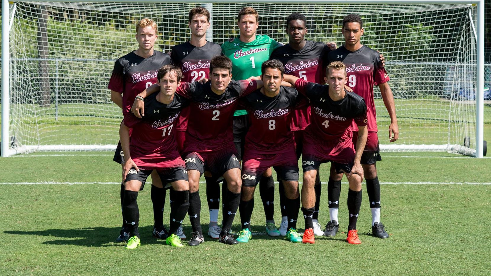 A College of Charleston starting XI, Cesar Murillo is wearing the #2 in the front row.