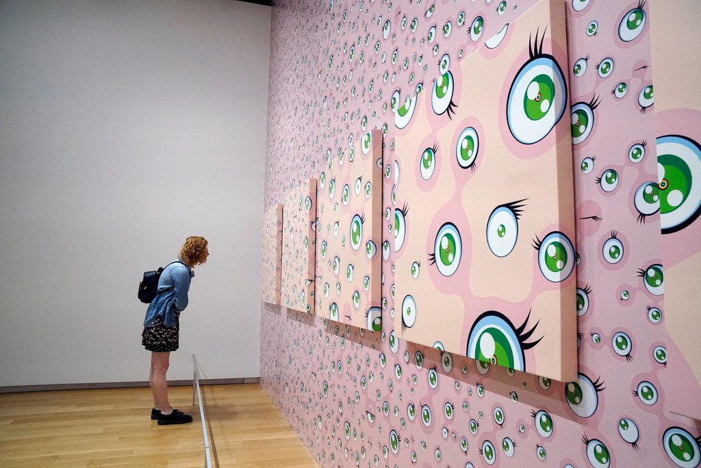 """Japanese artist Takashi Murakami's exhibit """"The Octopus Eats Its One Leg"""" is on display at the Modern Art Museum in Fort Worth, Texas on Wednesday June 6, 2018."""