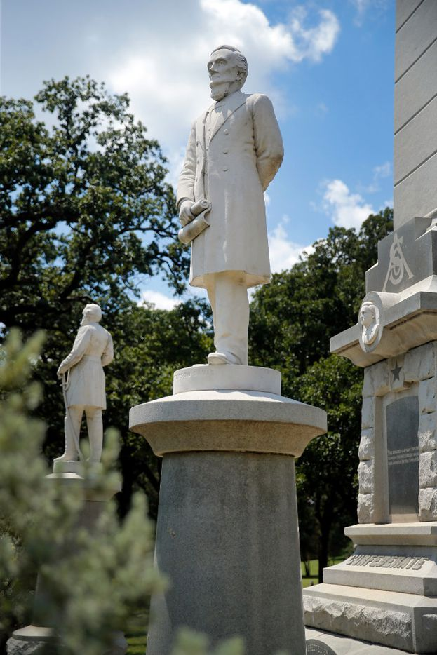 Jefferson Davis is part of the Confederate Memorial at Pioneer Park in downtown Dallas.
