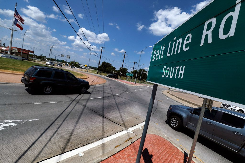 In Balch Springs, Texas, Belt Line Rd merges into a traffic circle at Pioneer Rd, Wednesday, August 7, 2019. (Tom Fox/The Dallas Morning News)