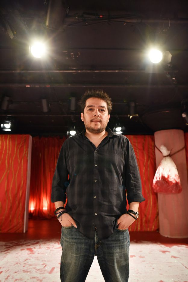 Playwright Matthew Paul Olmos poses for a portrait before a dress rehearsal of his show, So Go the Ghosts of Mexico, Part Three, A Poet Sings the Daughter Songs, on April 13, 2019 at Undermain Theatre in Dallas. The theater production is co-directed by Katherine Owens and Danielle Georgiou. Ben Torres/Special Contributor