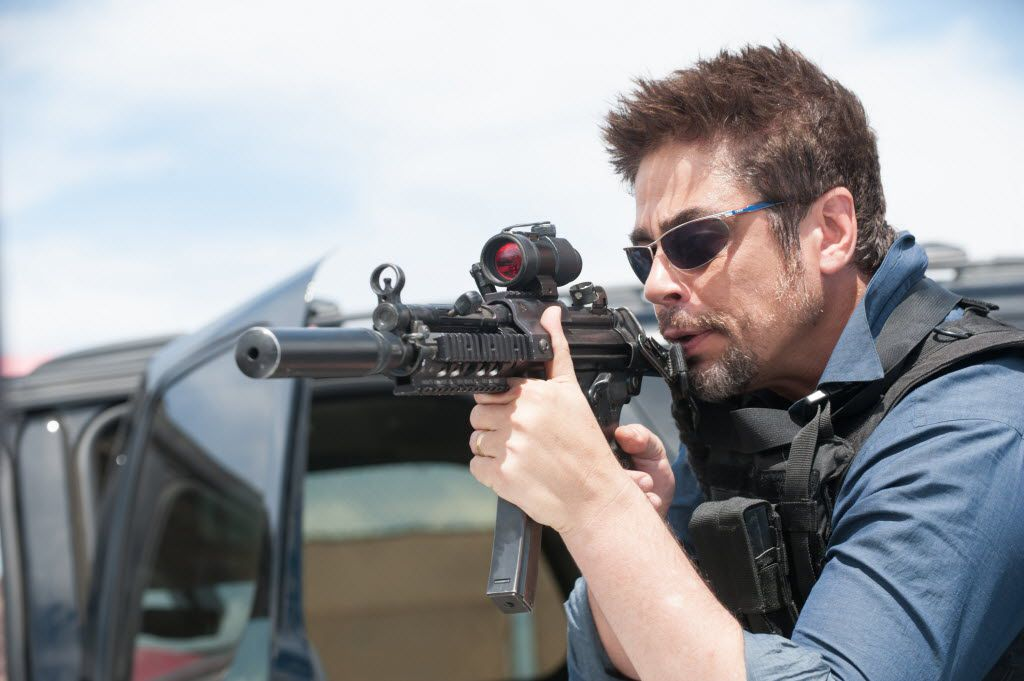 "Benicio Del Toro as Alejandro, in a scene from the film, ""Sicario."""