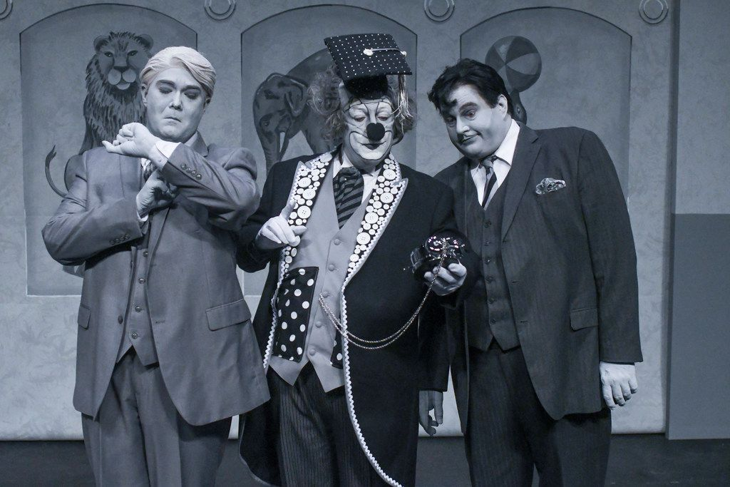 From left: Ben Bryant as Nigel Grouse, Michael S. Robinson as Professor Albert P. Pratfall and Scott Nixon as Harry Hunsacker in Pegasus Theatre's Clowning Around With Murder! at Eisemann Center in Richardson.
