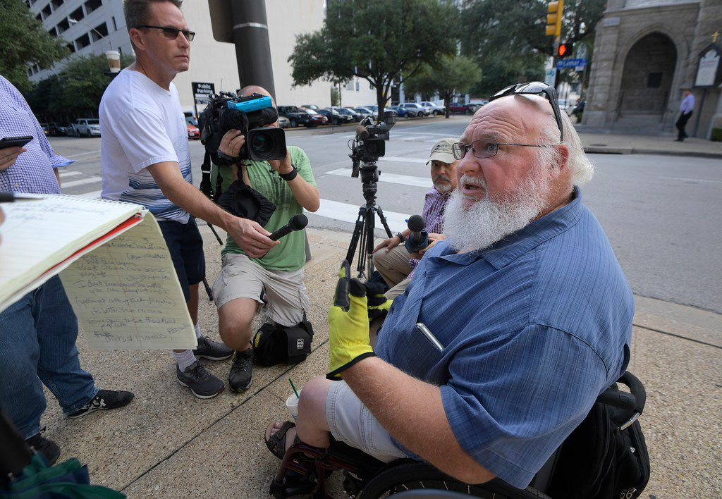 Michael Lummus, Alvarado, TX, talks to the media about his reliance on the Affordable Care Act at Eldon B. Mahon U.S. Courthouse in Fort Worth, TX, Wednesday, Sept. 5, 2018. On Wednesday, Texas Attorney General Ken Paxton's proposal to repeal the Affordable Care Act is scheduled for a 9:30 a.m. hearing before U.S. District Judge Reed OÕConnor.
