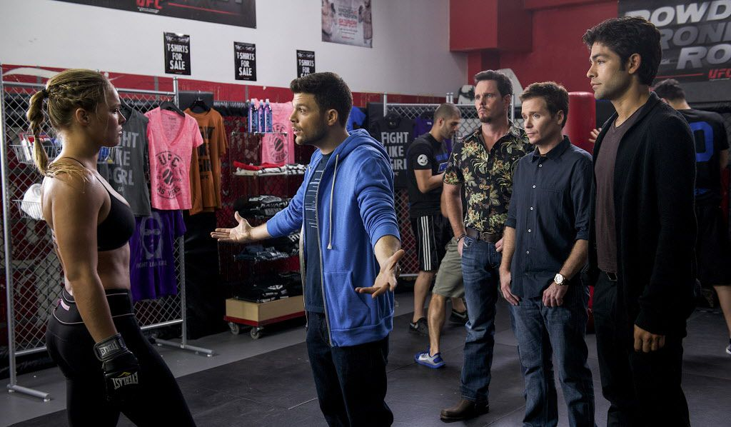 "Ronda Rousey as herself, Jerry Ferrara as Turtle, Kevin Dillon as Johnny Drama, Kevin Connolly as Eric and Adrian Grenier as Vince in ""Entourage."""