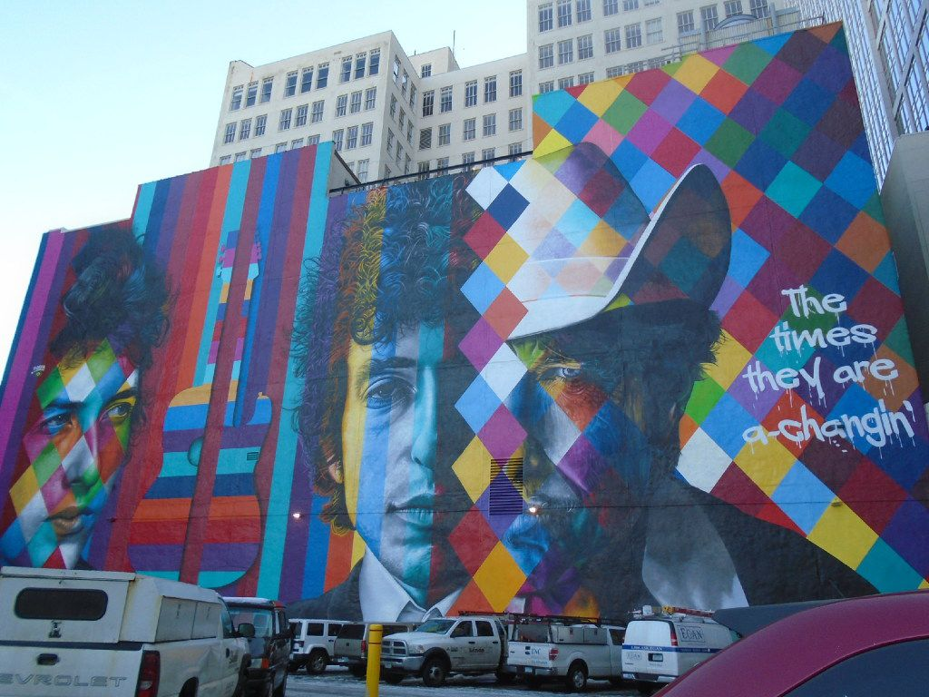 This downtown Minneapolis mural honoring Minnesota native Bob Dylan is five stories high. (Robin Soslow/Special Contributor)