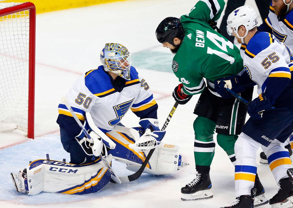 St. Louis Blues goaltender Jordan Binnington (50) stops a shot by Dallas Stars left wing Jamie Benn (14) during the first period at the American Airlines Center in Dallas, Wednesday, May 1, 2019. The teams were playing Western Conference Second Round Game 4 of the 2019 NHL Stanley Cup Playoffs. (Tom Fox/The Dallas Morning News)