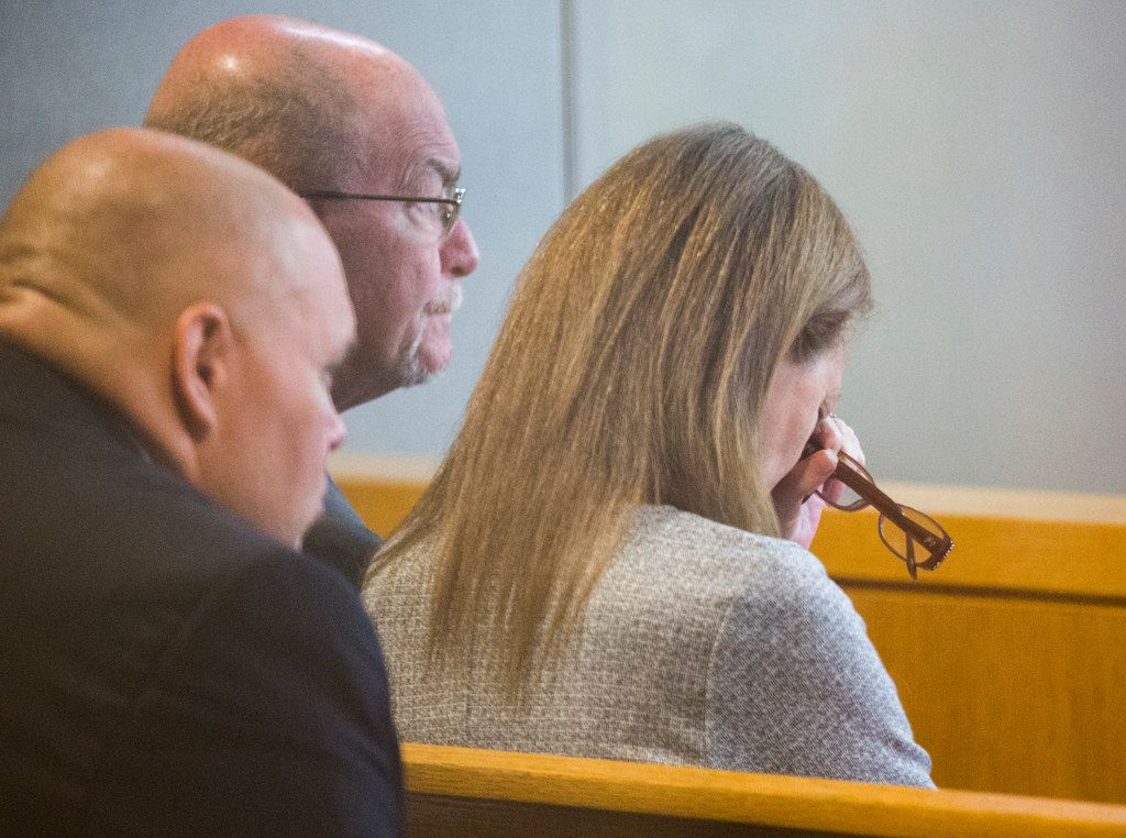 Bonnie Jameson (right) mother of Kendra Hatcher, reacted to testimony during the punishment phase of a capital murder trial for Kristopher Love on Oct. 29, 2018 at the Frank Crowley Courts Building in Dallas. Love was convicted in the 2015 murder of pediatric dentist Kendra Hatcher. He could face the death penalty.