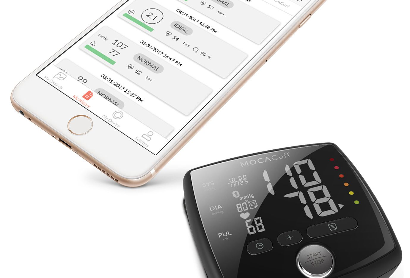 MOCAcuff and the Mocacare app make keeping up with your blood pressure a breeze.