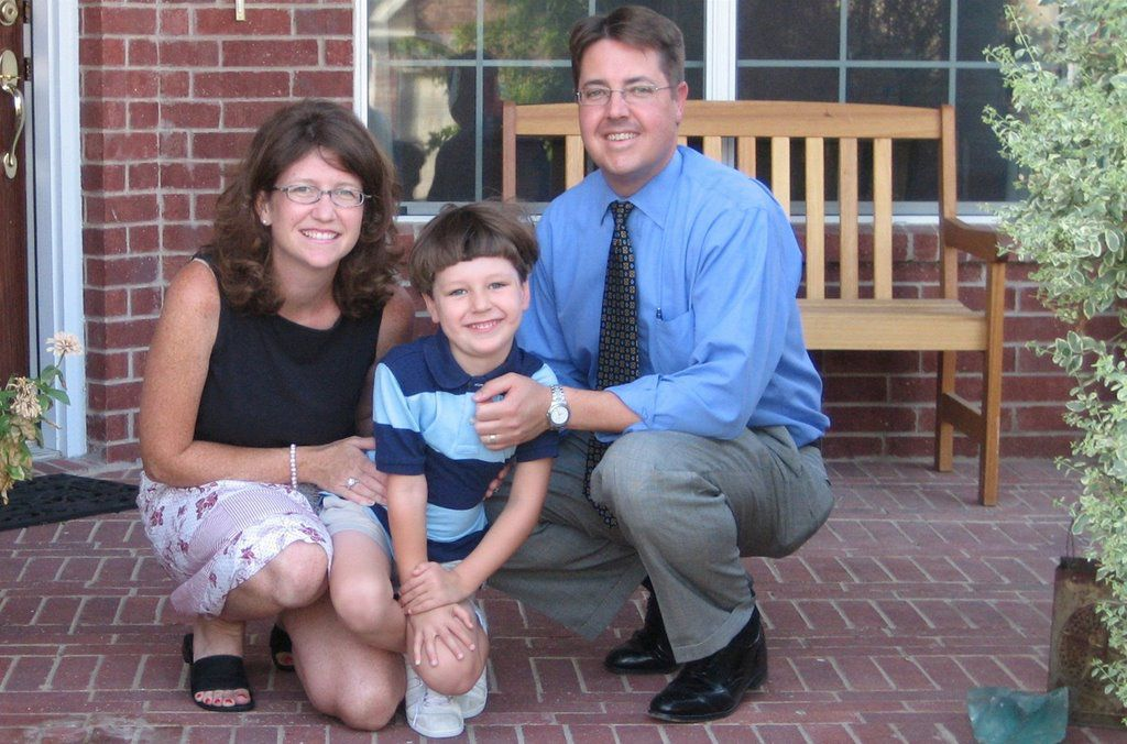 Tyra, Cooper and Steve Damm pose for a photo on Cooper's first day of kindergarten.