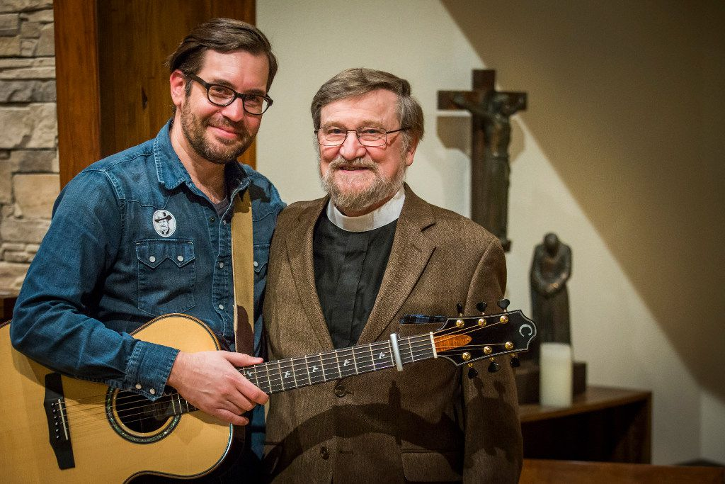 Ryan Flanigan (left) with Nelson Koscheski after a performance at The Canterbury House at SMU on Thursday, Dec. 1, 2016.