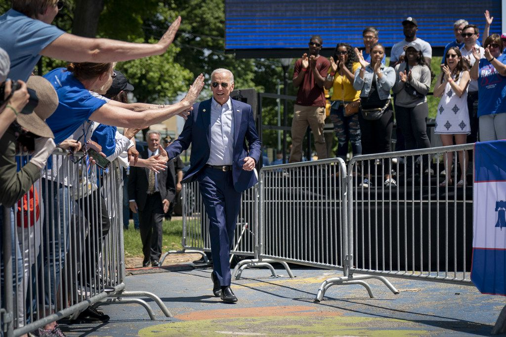 Democratic presidential candidate, former Vice President Joe Biden arrives for a campaign kickoff rally, May 18, 2019 in Philadelphia, Pa. Since Biden announced his candidacy in late April, he has taken the top spot in all polls of the sprawling Democratic primary field. (Photo by Drew Angerer/Getty Images)