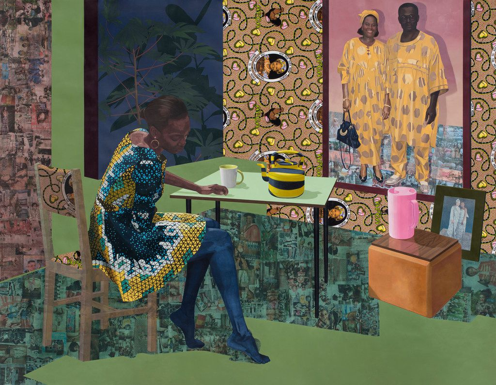 Njideka Akunyili Crosby's Dwell: Aso Ebi,  2017. (The Baltimore Museum of Art: Purchased as the gift of Nancy L. Dorman and Stanley Mazaroff, Baltimore, in honor of Kristen Hileman, BMA 2018.79.