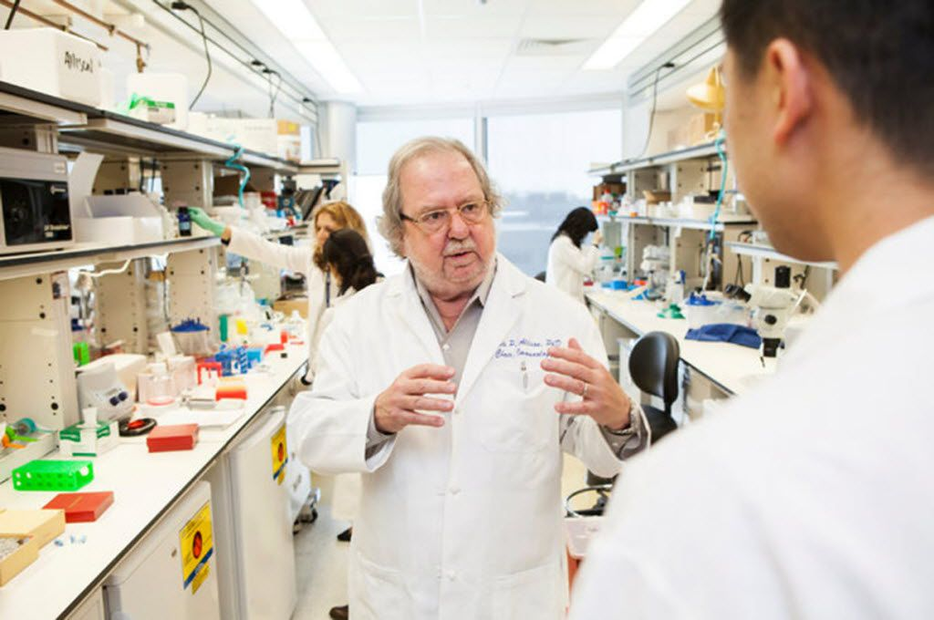 """Jim Allison of the University of Texas M.D. Anderson Cancer Center developed the groundbreaking cancer treatment known as """"immune checkpoint therapy"""" along with fellow Nobel Prize winner Tasuku Honjo of Kyoto University."""