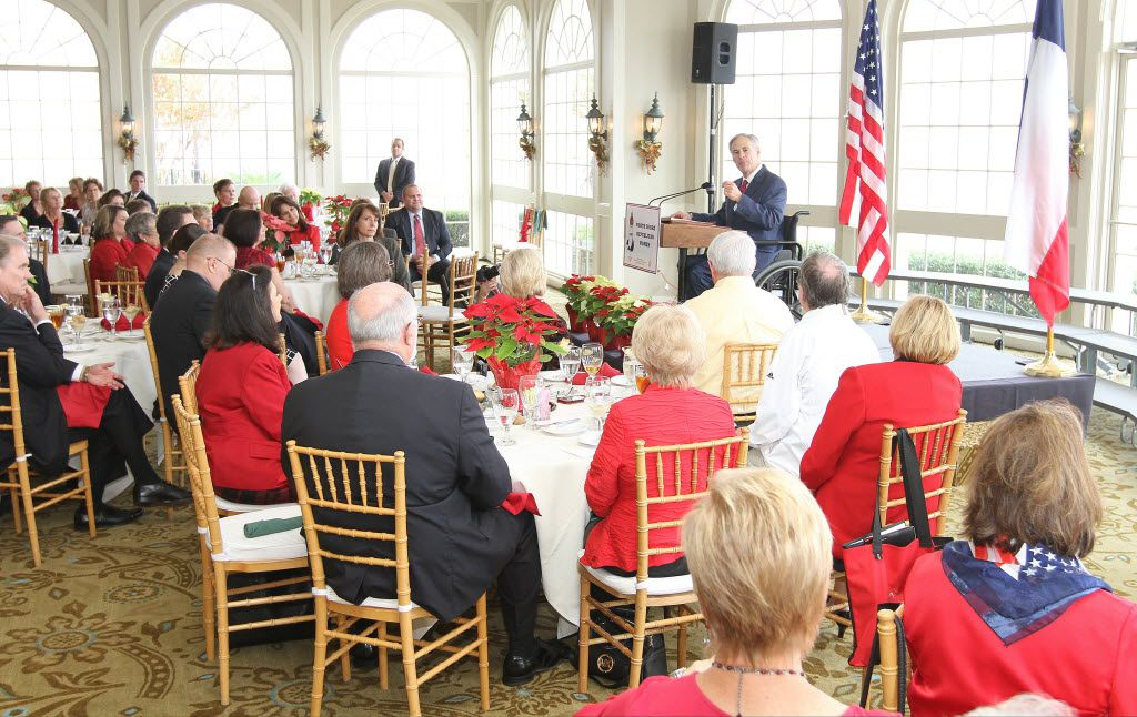 When he was a candidate for governor, Greg Abbott spoke to the North Shore Republican Women's club  at the Bentwater Yacht Club in December 2013 in Montgomery.