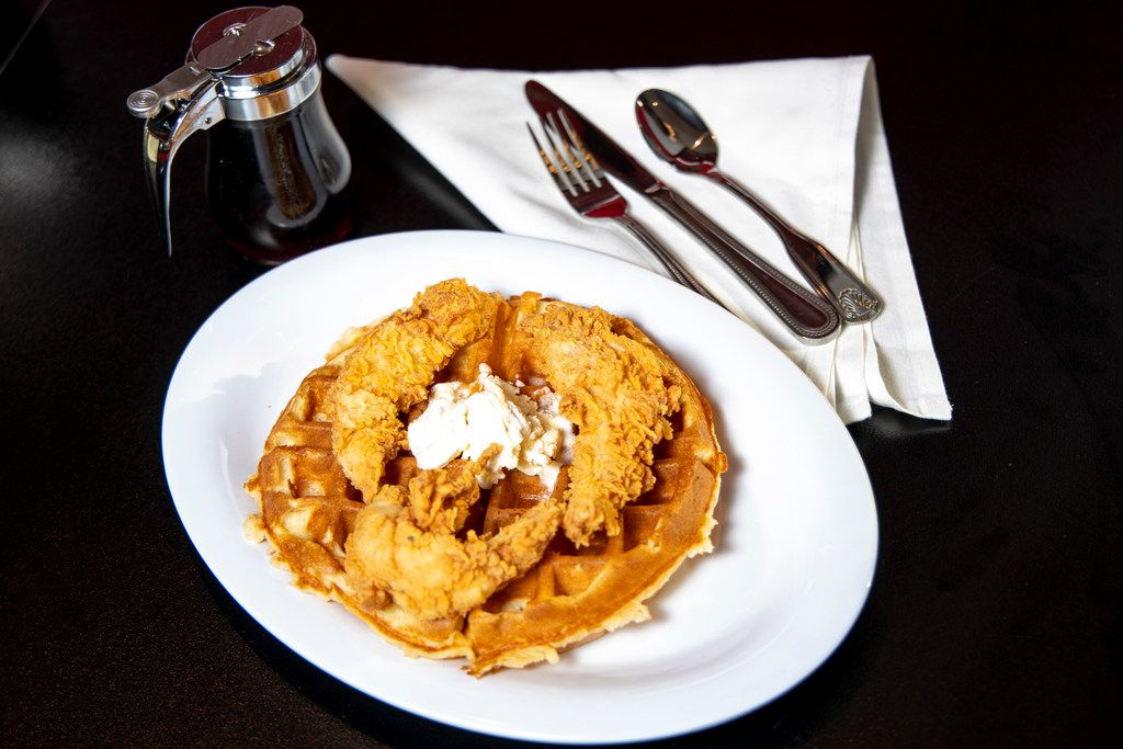 Chicken and waffles form Bubba's Cooks Country in Frisco, Texas on Tuesday, Feb. 5, 2019. (Shaban Athuman/The Dallas Morning News)