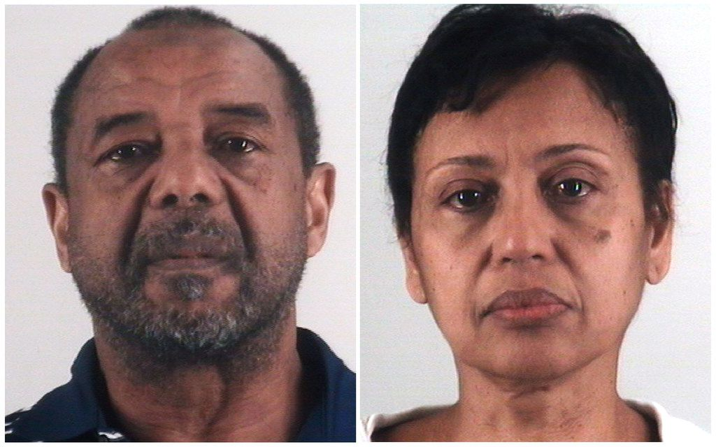 This combination of photos provided by the Tarrant County Sheriff's Department in Texas shows Mohamed Toure, left, and Denise Cros-Toure, a Southlake couple found guilty of enslaving a Guinean woman for 16 years. The couple on Monday, April 22, 2019, was sentenced to seven years in federal prison each for enslaving the woman for 16 years. (Tarrant County Sheriff's Department via AP)