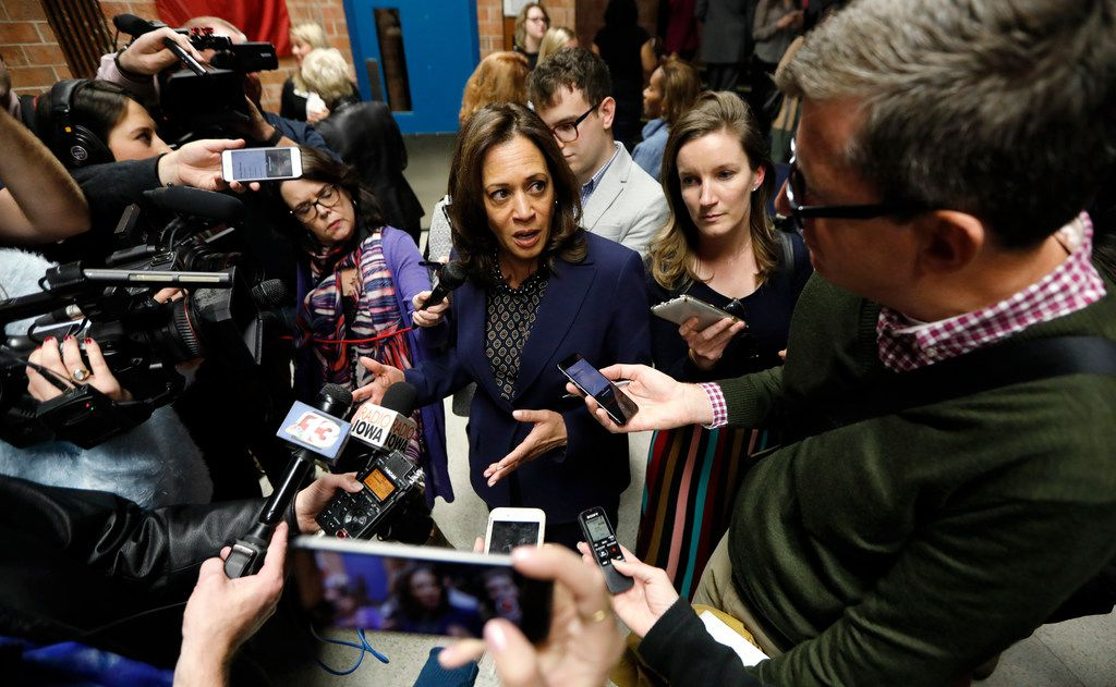 U.S. Sen. Kamala Harris, D-Calif., spoke to reporters following a get out the vote rally last month, at the Des Moines Area Community College in Ankeny, Iowa.
