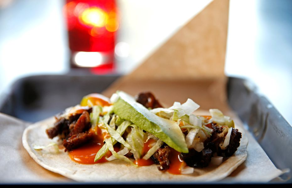 The burnt ends, pictured here in a taco, can also come in a torta at Tortaco.
