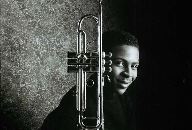 A young Roy Hargrove poses with a trumpet in this undated record label handout photo.