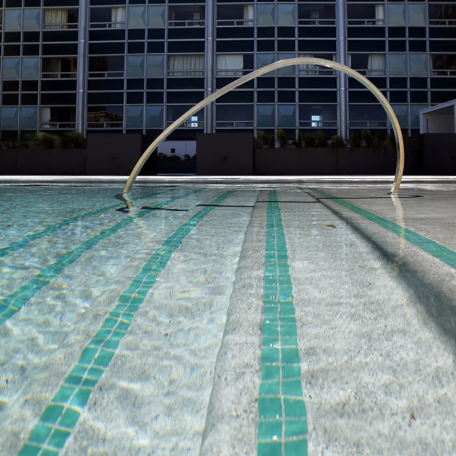 On the fourth floor pool at the Statler Residences in downtown Dallas.