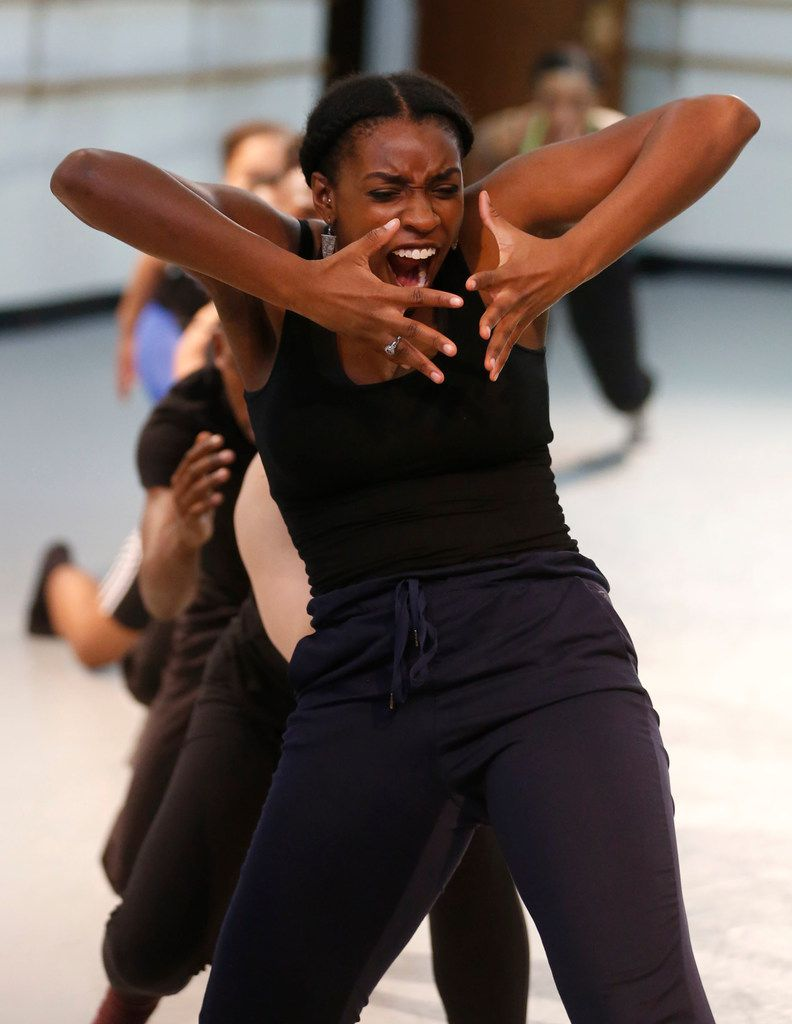 Bianca Melidor of DBDT: Encore! rehearses My'Kal Stromile's Mirror of the Effigy, premiering April 12-13 at Moody Performance Hall.