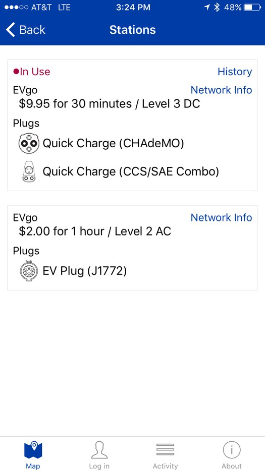 The PlugShare app will show you where to charge and how much charging will cost.