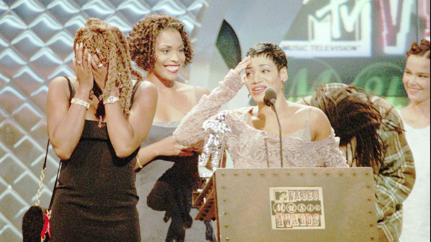 "Twenty five years ago come September, Salt-N-Pepa -- from left, Sandra ""Pepa"" Denton, Deidra ""Spinderella"" Roper and Cheryl ""Salt"" James -- collected MTV's Best Dance Video award for ""Whatta Man."""