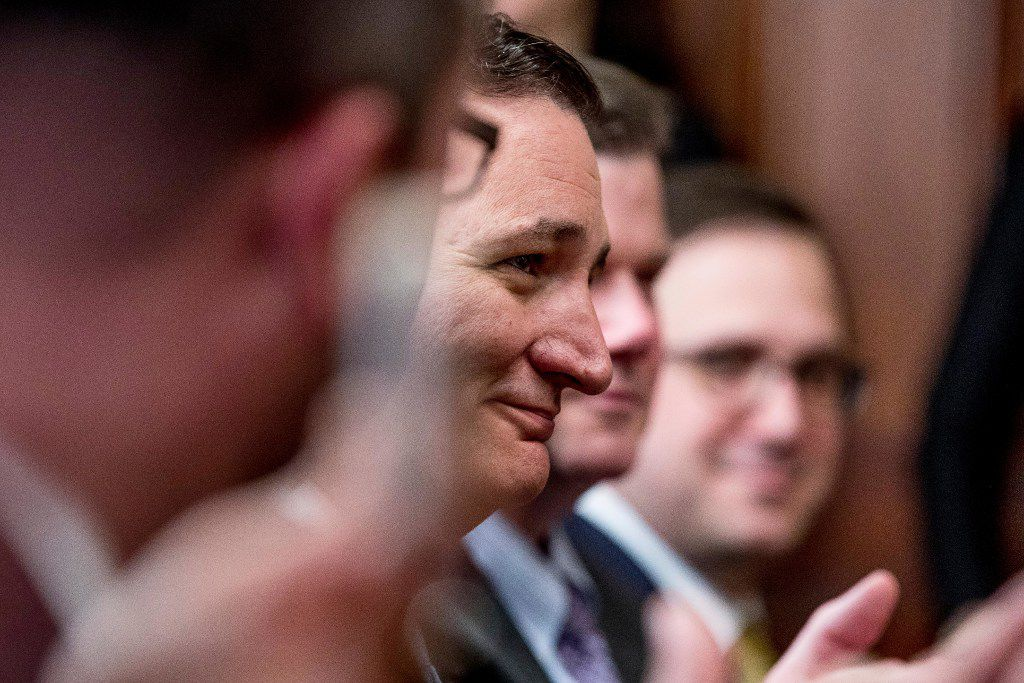 Sen. Ted Cruz, R-Texas, center, attends a swearing in ceremony for Energy Secretary Rick Perry, Thursday, March 2, 2017, in the Eisenhower Executive Office Building on the White House complex in Washington. (AP Photo/Andrew Harnik)
